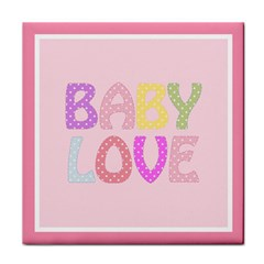 Pink Baby Love Text In Colorful Polka Dots Tile Coasters by Simbadda