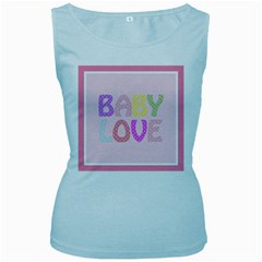 Pink Baby Love Text In Colorful Polka Dots Women s Baby Blue Tank Top by Simbadda