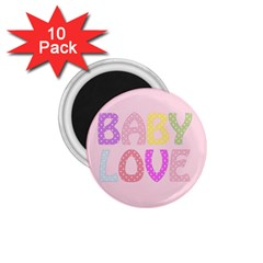 Pink Baby Love Text In Colorful Polka Dots 1 75  Magnets (10 Pack)  by Simbadda