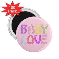 Pink Baby Love Text In Colorful Polka Dots 2 25  Magnets (100 Pack)  by Simbadda