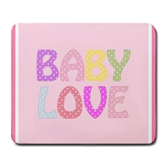 Pink Baby Love Text In Colorful Polka Dots Large Mousepads by Simbadda