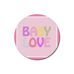 Pink Baby Love Text In Colorful Polka Dots Rubber Round Coaster (4 Pack)  by Simbadda