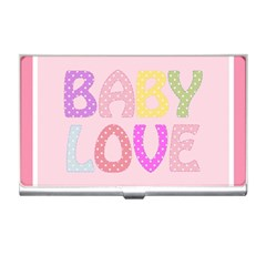 Pink Baby Love Text In Colorful Polka Dots Business Card Holders by Simbadda