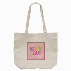 Pink Baby Love Text In Colorful Polka Dots Tote Bag (cream) by Simbadda