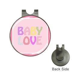 Pink Baby Love Text In Colorful Polka Dots Hat Clips With Golf Markers by Simbadda