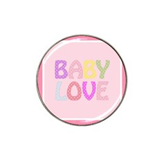 Pink Baby Love Text In Colorful Polka Dots Hat Clip Ball Marker (4 Pack) by Simbadda