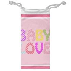 Pink Baby Love Text In Colorful Polka Dots Jewelry Bag by Simbadda