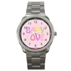 Pink Baby Love Text In Colorful Polka Dots Sport Metal Watch by Simbadda