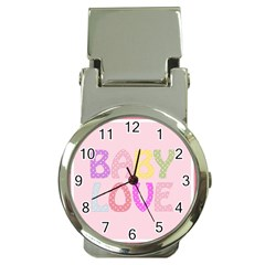 Pink Baby Love Text In Colorful Polka Dots Money Clip Watches by Simbadda
