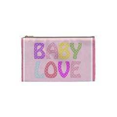 Pink Baby Love Text In Colorful Polka Dots Cosmetic Bag (small)  by Simbadda