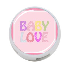Pink Baby Love Text In Colorful Polka Dots 4 Port Usb Hub (one Side) by Simbadda