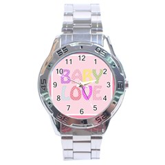 Pink Baby Love Text In Colorful Polka Dots Stainless Steel Analogue Watch by Simbadda