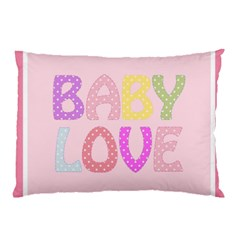 Pink Baby Love Text In Colorful Polka Dots Pillow Case (two Sides) by Simbadda