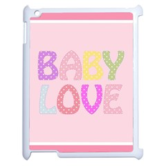 Pink Baby Love Text In Colorful Polka Dots Apple Ipad 2 Case (white) by Simbadda