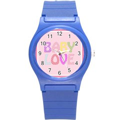 Pink Baby Love Text In Colorful Polka Dots Round Plastic Sport Watch (s) by Simbadda