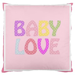 Pink Baby Love Text In Colorful Polka Dots Large Cushion Case (two Sides) by Simbadda