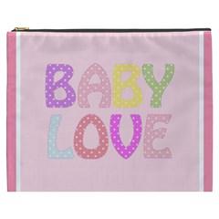 Pink Baby Love Text In Colorful Polka Dots Cosmetic Bag (xxxl)  by Simbadda