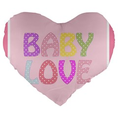 Pink Baby Love Text In Colorful Polka Dots Large 19  Premium Heart Shape Cushions by Simbadda