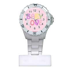 Pink Baby Love Text In Colorful Polka Dots Plastic Nurses Watch by Simbadda