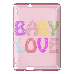 Pink Baby Love Text In Colorful Polka Dots Kindle Fire Hdx Hardshell Case by Simbadda