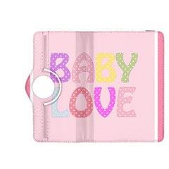 Pink Baby Love Text In Colorful Polka Dots Kindle Fire Hdx 8 9  Flip 360 Case by Simbadda