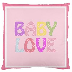 Pink Baby Love Text In Colorful Polka Dots Standard Flano Cushion Case (one Side) by Simbadda