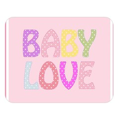 Pink Baby Love Text In Colorful Polka Dots Double Sided Flano Blanket (large)  by Simbadda