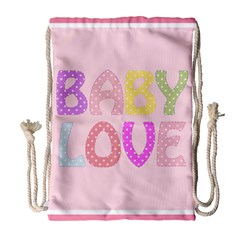 Pink Baby Love Text In Colorful Polka Dots Drawstring Bag (large) by Simbadda