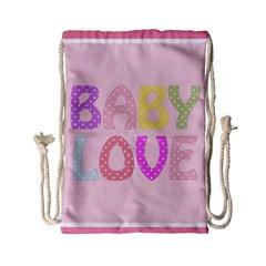 Pink Baby Love Text In Colorful Polka Dots Drawstring Bag (small) by Simbadda