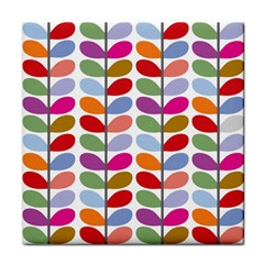 Colorful Bright Leaf Pattern Background Tile Coasters by Simbadda