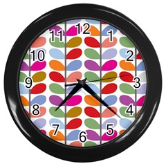 Colorful Bright Leaf Pattern Background Wall Clocks (black) by Simbadda