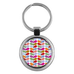 Colorful Bright Leaf Pattern Background Key Chains (round)  by Simbadda