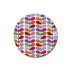 Colorful Bright Leaf Pattern Background Rubber Round Coaster (4 Pack)