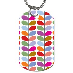 Colorful Bright Leaf Pattern Background Dog Tag (one Side) by Simbadda