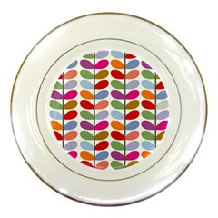 Colorful Bright Leaf Pattern Background Porcelain Plates by Simbadda