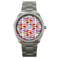 Colorful Bright Leaf Pattern Background Sport Metal Watch by Simbadda