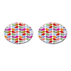 Colorful Bright Leaf Pattern Background Cufflinks (oval) by Simbadda