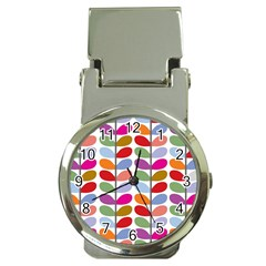 Colorful Bright Leaf Pattern Background Money Clip Watches by Simbadda