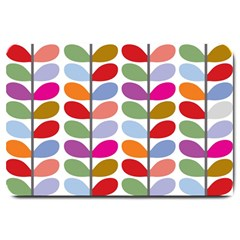Colorful Bright Leaf Pattern Background Large Doormat  by Simbadda