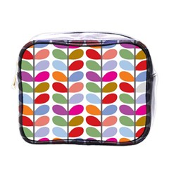 Colorful Bright Leaf Pattern Background Mini Toiletries Bags by Simbadda