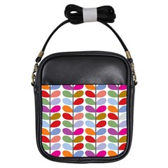 Colorful Bright Leaf Pattern Background Girls Sling Bags by Simbadda