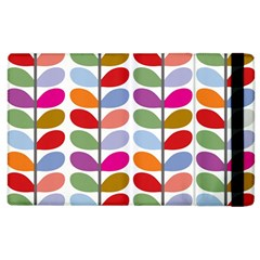 Colorful Bright Leaf Pattern Background Apple Ipad 2 Flip Case by Simbadda