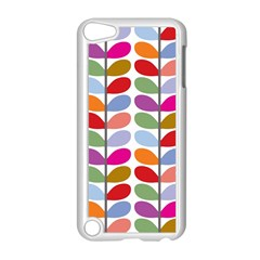 Colorful Bright Leaf Pattern Background Apple Ipod Touch 5 Case (white) by Simbadda