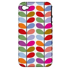 Colorful Bright Leaf Pattern Background Apple Iphone 4/4s Hardshell Case (pc+silicone) by Simbadda