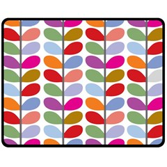 Colorful Bright Leaf Pattern Background Double Sided Fleece Blanket (medium)  by Simbadda