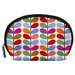 Colorful Bright Leaf Pattern Background Accessory Pouches (large)  by Simbadda