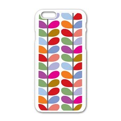 Colorful Bright Leaf Pattern Background Apple Iphone 6/6s White Enamel Case by Simbadda