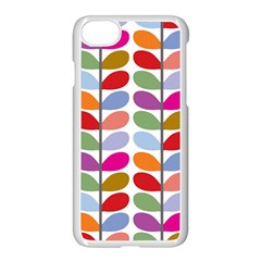 Colorful Bright Leaf Pattern Background Apple Iphone 7 Seamless Case (white) by Simbadda