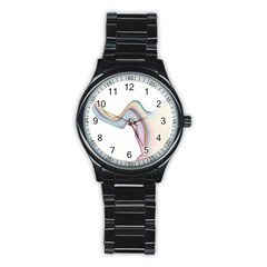 Abstract Ribbon Background Stainless Steel Round Watch
