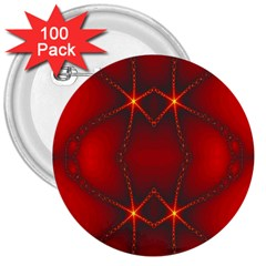 Impressive Red Fractal 3  Buttons (100 Pack)  by Simbadda